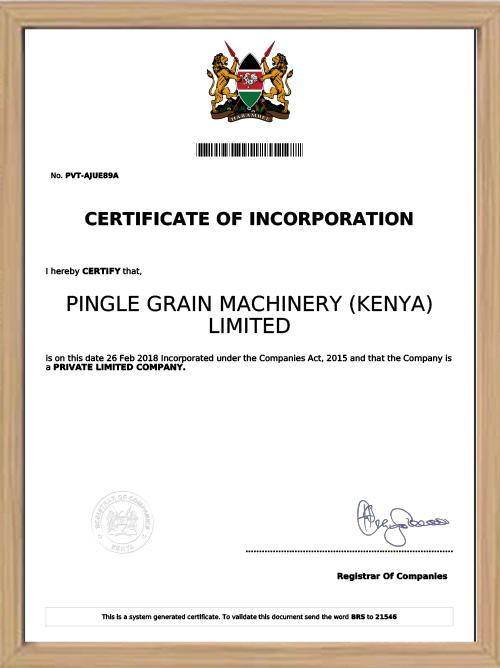 Certificate of Succursale au Kenya